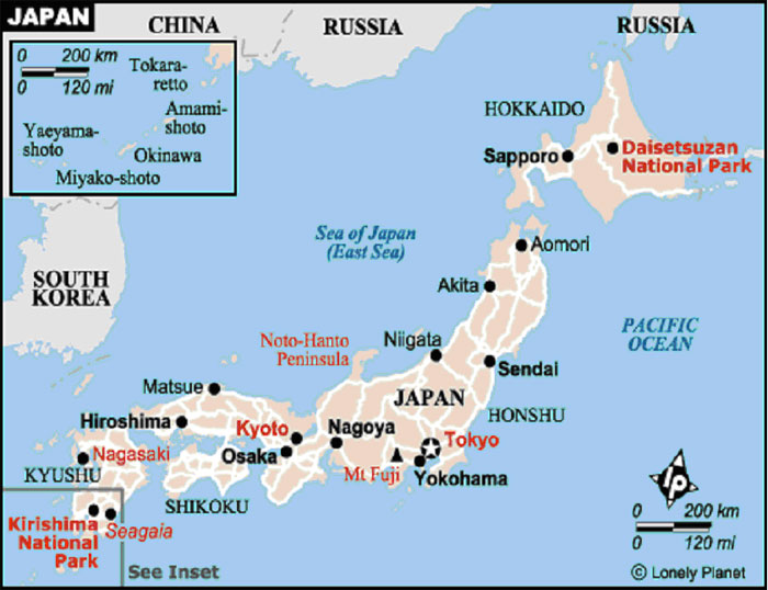 Map Of Japan For Students FOXG - Japan map lonely planet